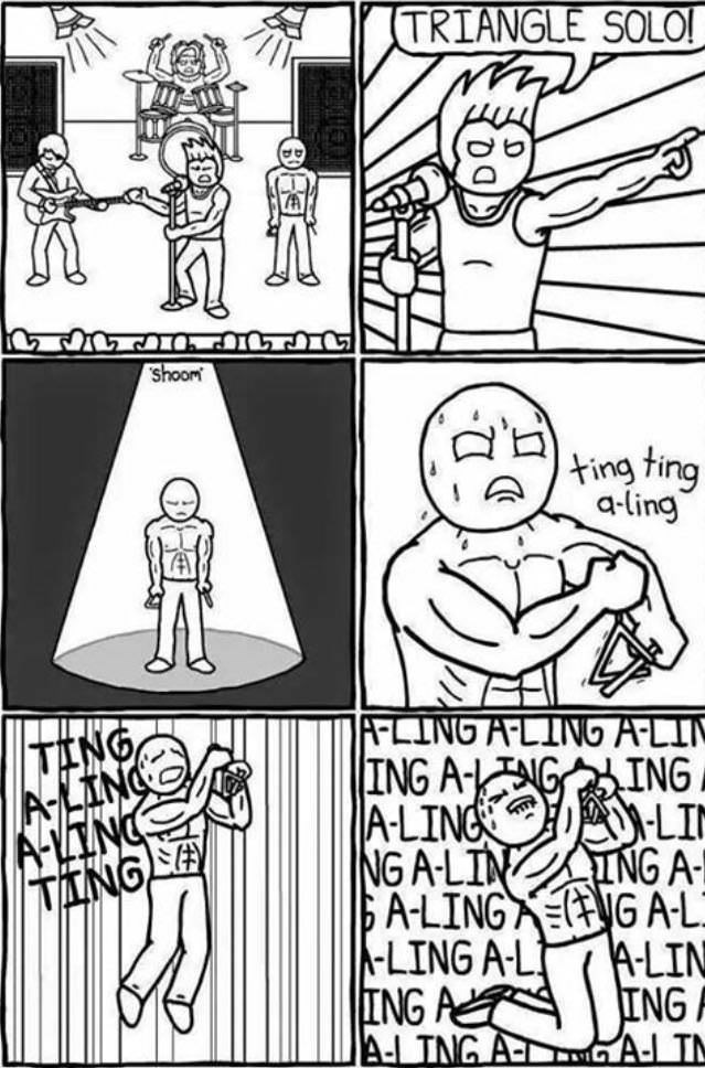 Comic of an intense triangle solo in a rock concert