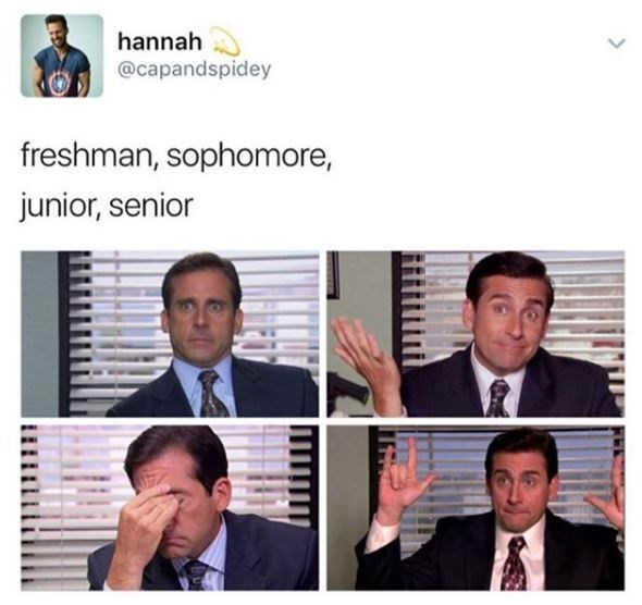 meme comparing Michael from the office to the different stages in high school