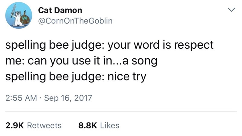 Text - Cat Damon @CornOnTheGoblin spelling bee judge: your word is respect me: can you use it in...a song spelling bee judge: nice try 2:55 AM Sep 16, 2017 8.8K Likes 2.9K Retweets