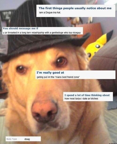 "dog wearing fedora The first things people usually notice about me iam a Dogue ina hat. You should message me if u ar itnrseted in a long tern relashipship with a genltedoge who isa niceguy I'm really good at geting put int the ""mans best freind zone"" I spend a lot of time thinking about how most ladysi date ar bitches Body Type doug atonoko"