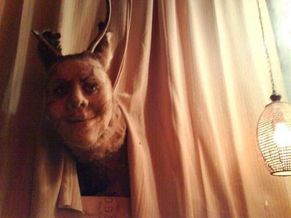 cursed images - Curtain face sticking out of it