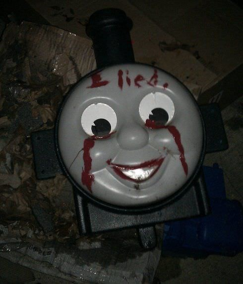 cursed images - Thomas the tank engine - lie iea