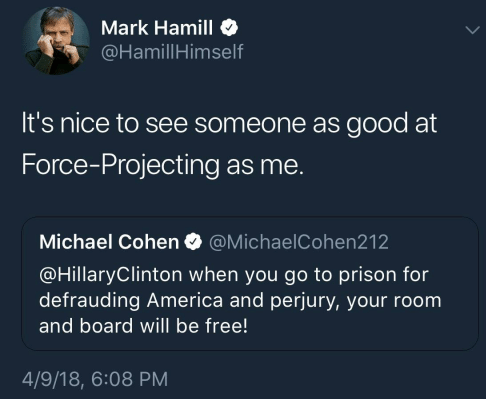 Mark Hamill tweet about Michael Cohen projecting on Hillary