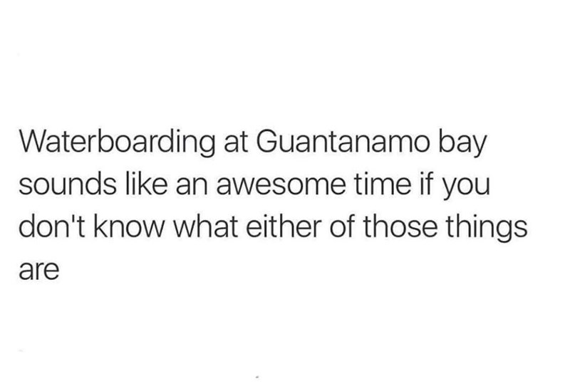 Text - Waterboarding at Guantanamo bay sounds like an awesome time if you don't know what either of those things are