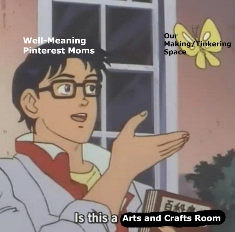 'Is this a Pigeon' meme about Pinterest moms using the museum's making/tinkering space as an arts and crafts room