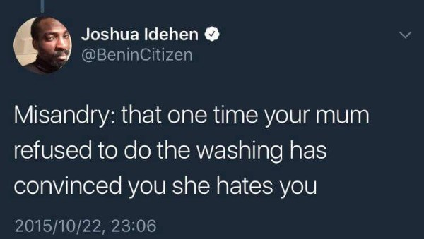 Text - Joshua Idehen @BeninCitizen Misandry: that one time your mum refused to do the washing has convinced you she hates you 2015/10/22, 23:06