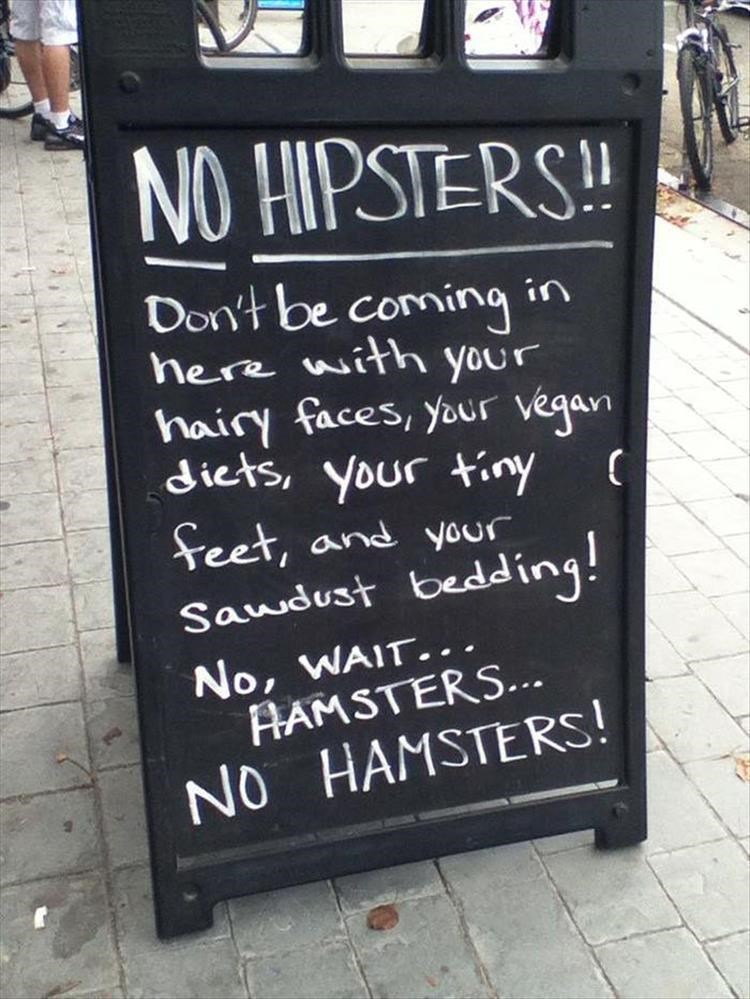 Text - NO HIPSTERS Don't be coming n here with Your hairy faces, your vegan dicts, your tiny Seet, and your Saudust bedding! No, WAIT.. AAMSTERS.. NO HAMSTERS!