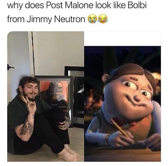 comparison between a pic of Post Malone and a character from the show Jimmy Neutrom