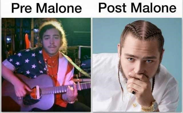 "old picture of Post Malone titled ""Pre Malone"" next to a more recent pic of him"