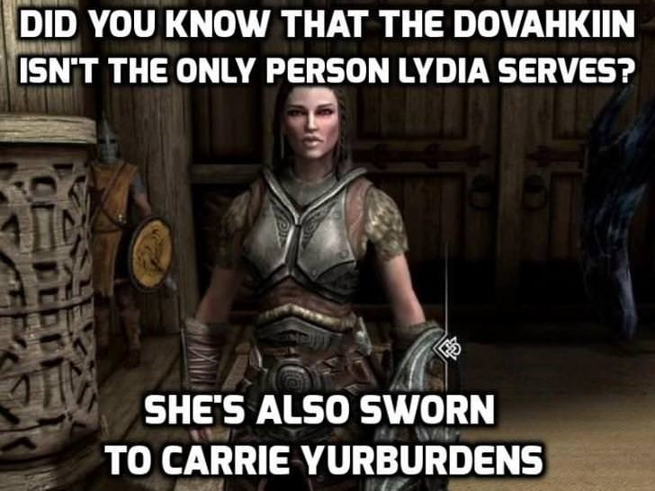 Armour - DID YOU KNOW THAT THE DOVAHKIIN ISN'T THE ONLY PERSON LYDIA SERVES? SHE'S ALSO SWORN TO CARRIE YURBURDENS