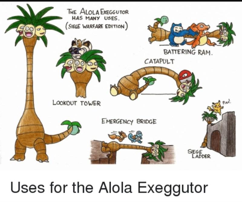 pokemon meme - Animal figure - Tιε ΑιοLAΕεceυτOR HAS MANY USES (SIEGE WARFARE EDITION) BATTERING RAM CATAPULT Lookour TOWER PA EMERGENCY BRIDGE SIEGE LADDER Uses for the Alola Exeggutor