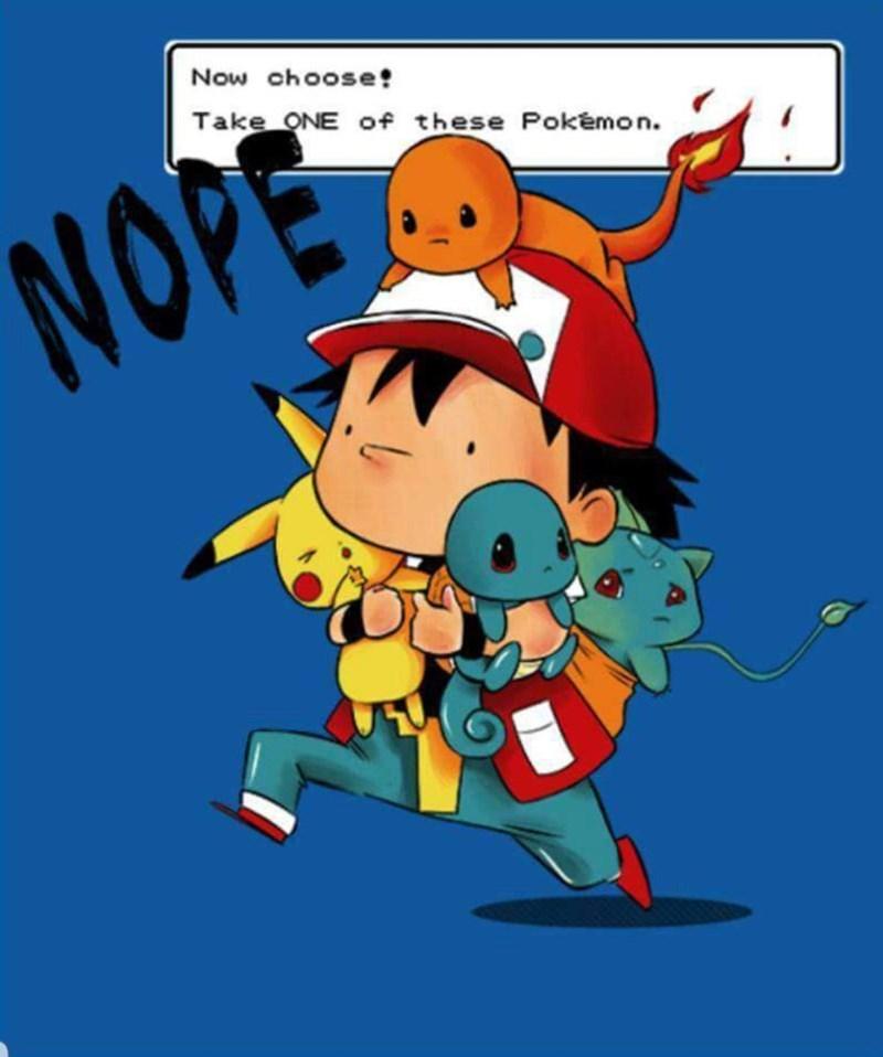 pokemon meme - Animated cartoon - Now choose! Take ONE of these Pokemon. NOPE