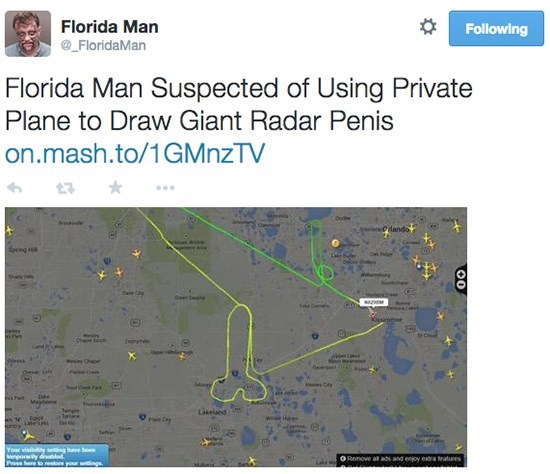 Florida Man suspected of using private plane to draw giant radar penis
