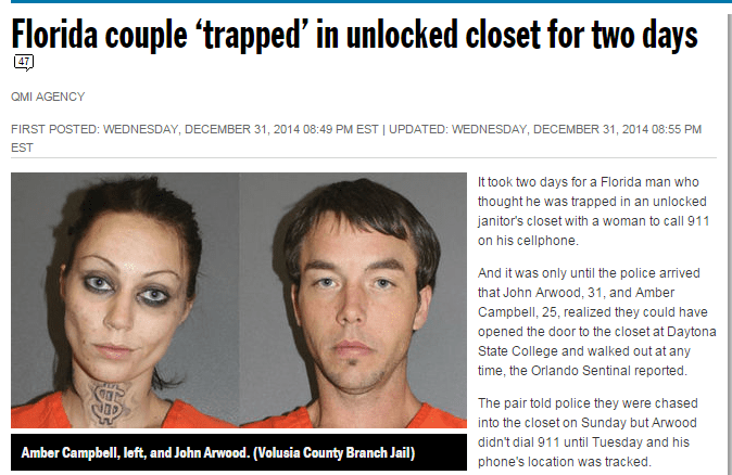 "Headline reads, ""Florida couple 'trapped' in unlocked closet for two days"""