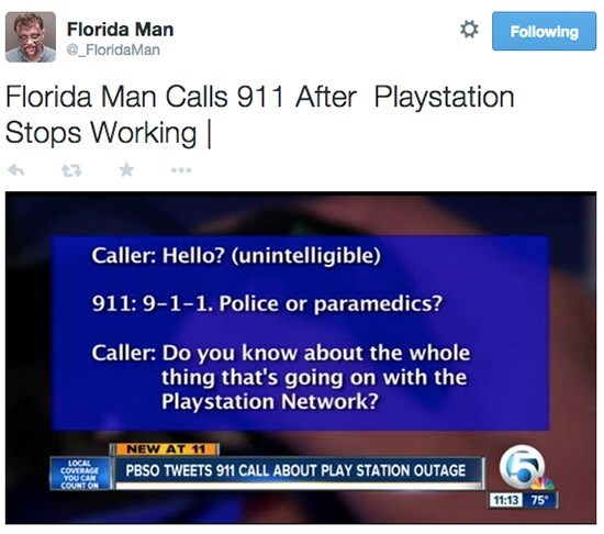 Florida man calls 911 after playstation stops working