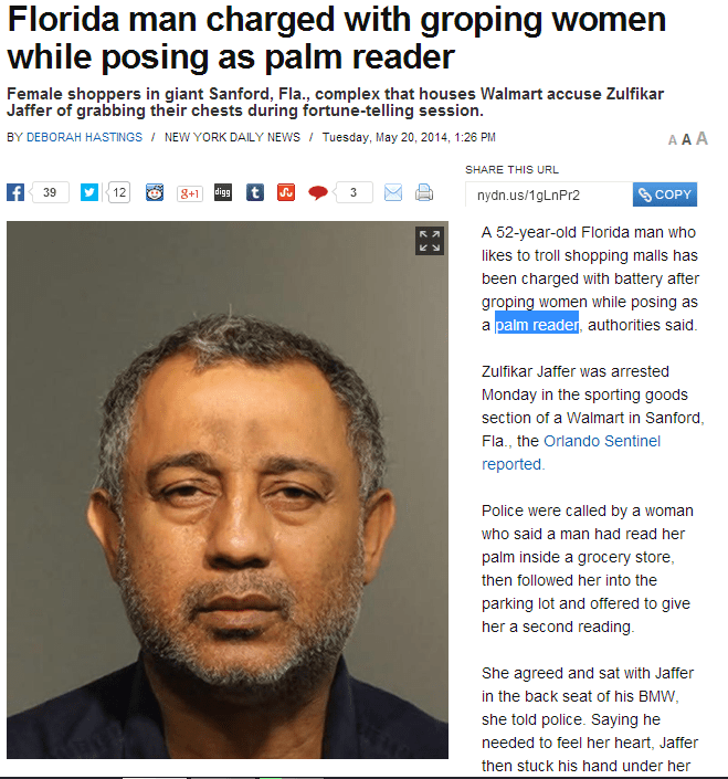 Florida man charged with groping women while posing as a palm reader