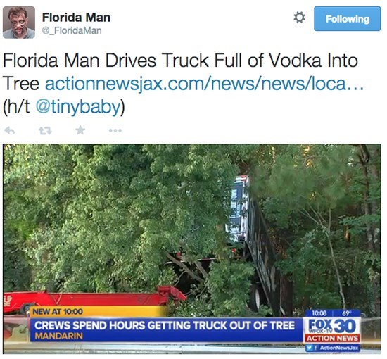 Florida man drives truck full of vodka into tree