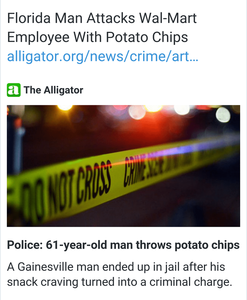 Florida man attacks walmart employee with potato chips