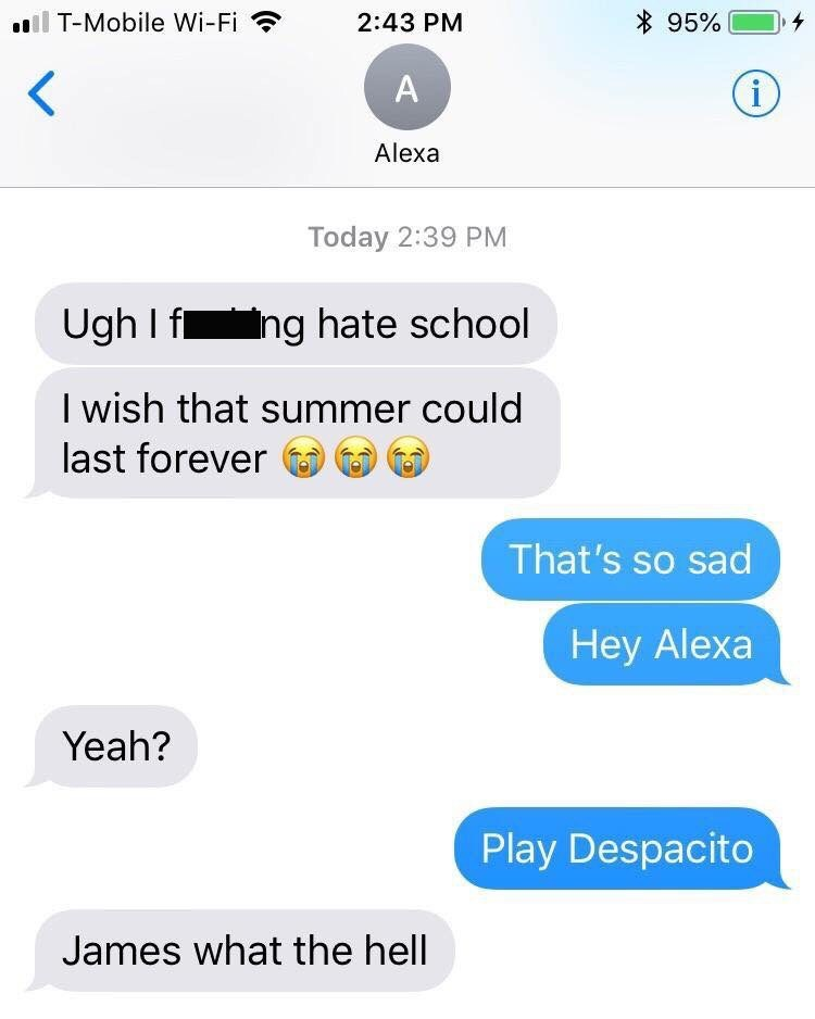 Text - T-Mobile Wi-Fi 95% 2:43 PM (i A Alexa Today 2:39 PM Ugh I f ing hate school I wish that summer could last forever That's so sad Hey Alexa Yeah? Play Despacito James what the hell