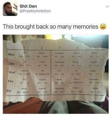 Text - Shit Den @PreeMyAmbition This brought back so many memories Sim Mon DA L RA Y RD DAT Fro Tue RA GY2 Mad Wed oo 02 Ls A NU G PRE Egli GO LIO Geiggky Thu sC MOBILEA DO Make Maths Fri Do BU MUS
