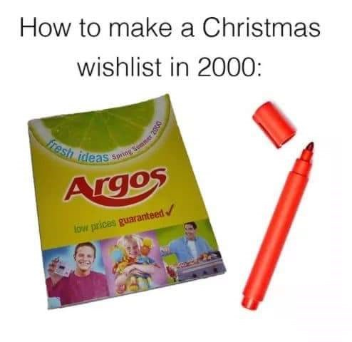 Text - How to make a Christmas wishlist in 2000: fresh ideas Spang Semmer 2000 Argos low prices guaranteed
