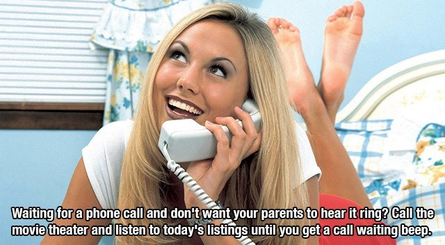 Skin - Wafting for a phone call and don't want your parents to hear it ring? Call the movie theater and listen to today's listings until you get a call wafting beep.