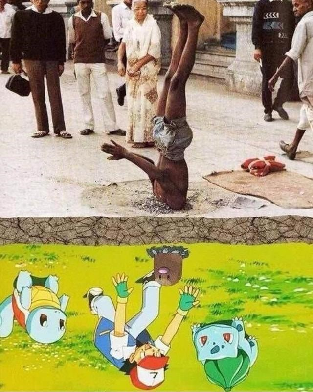 man standing on his head and pokemon upside down meme