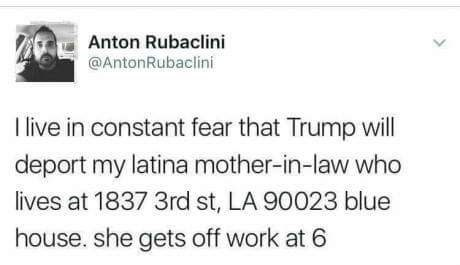 funny meme of someone afraid trump will deport his MIL and proceeds to give detailed address