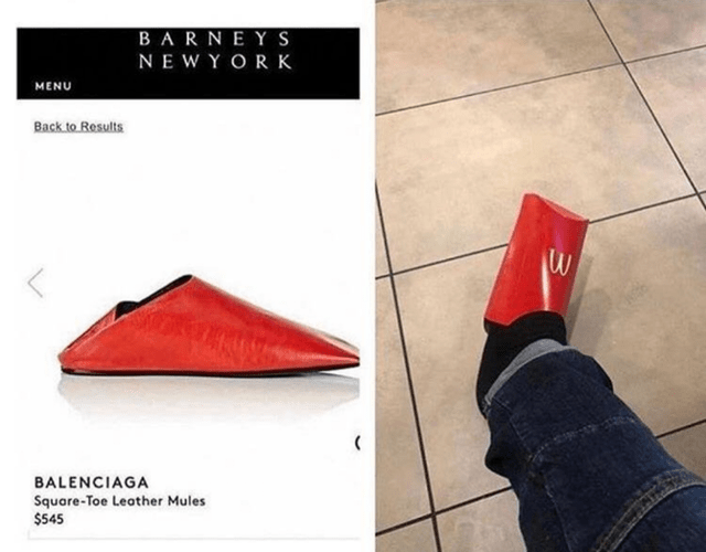 Funny meme of slippers that look like McDonald's fries