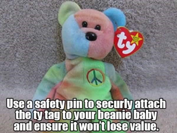 Stuffed toy - Useasafety pin tosecurly attach the ty tag to your beanie baby and ensure it won't lose value.