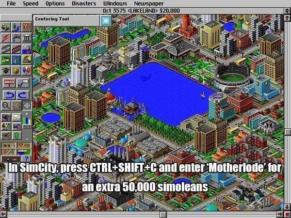 Urban design - File Speed Options Disasters Windous Neuspaper Oct 3575 <LAKELAND $20,000 Centering Tool ROT In SimCity press CTRL SHIFT Candenter Motherlode for an extra 50,000simoleans www 977777es WA