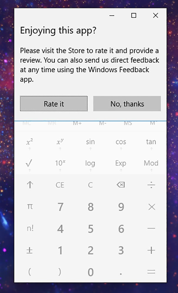 Windows asking for feedback with the numerical keyboard