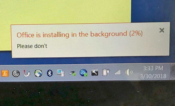 Text - X Office is installing in the background (2%) Please don't 3:33 PM 3/30/2018