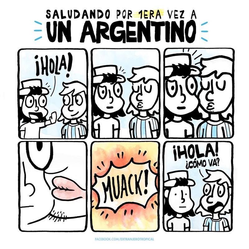 saludando por primera vez a un argentino extranjerotropical