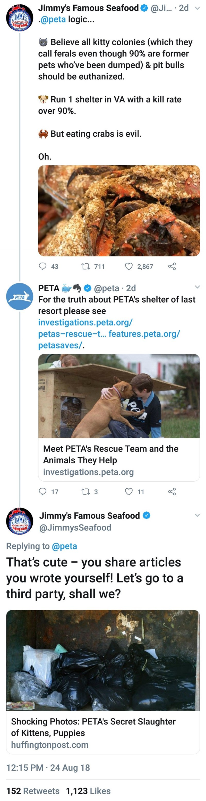 Font - Jimmy's Famous Seafood SIMMA'S@peta logic... @Ji... 2d poofoas Believe all kitty colonies (which they call ferals even though 90% are former pets who've been dumped) & pit bulls should be euthanized. Run 1 shelter in VA with a kill rate over 90% But eating crabs is evil. Oh. L711 43 2,867 @peta 2d For the truth about PETA's shelter of last PETA PETA resort please see investigations.peta.org/ petas-rescue-t... features.peta.org/ petasaves/. APe Meet PETA's Rescue Team and the Animals They