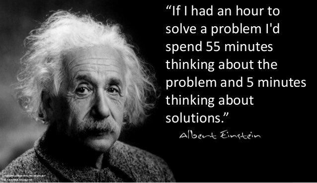 """Text - """"If I had an hour to solve a problem I'd spend 55 minutes thinking about the problem and 5 minutes thinking about solutions."""" Albent Eintein"""
