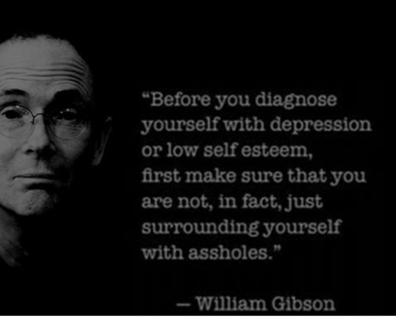 """Face - """"Before you diagnose yourself with depression or low self esteem, first make sure that you are not, in fact, just surrounding yourself with assholes."""" -William Gibson"""