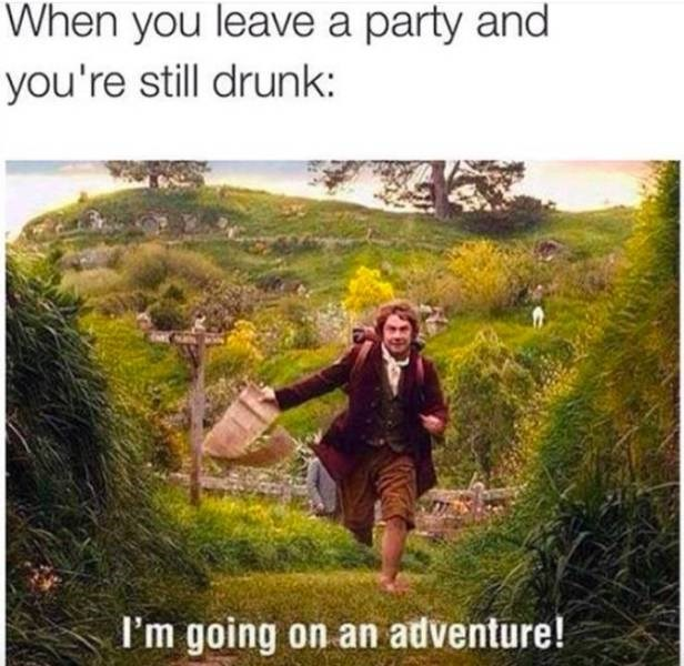 meme about leaving a part drunk with pic from The Hobbit of Bilbo going on an adventure