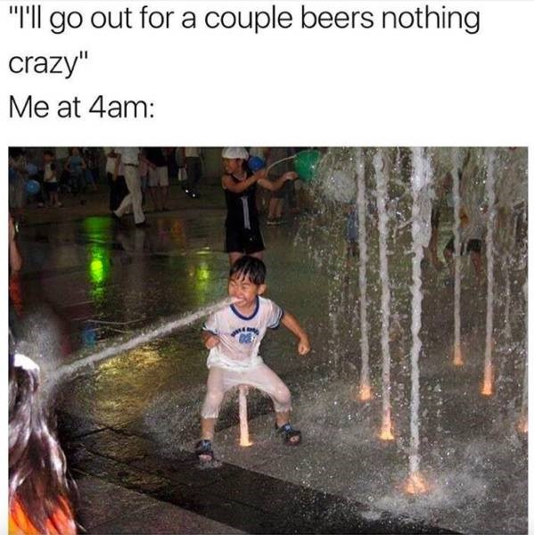 meme about getting drunker than planned with pic of child shooting out a stream of water from his mouth