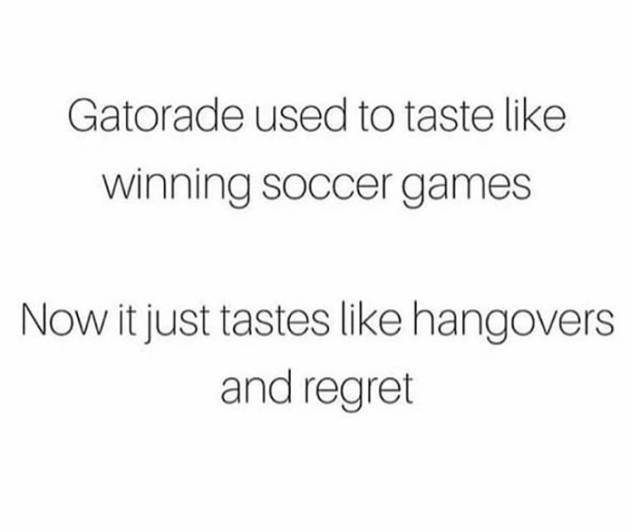 meme about drinking Gatordae as a kid VS as an adult