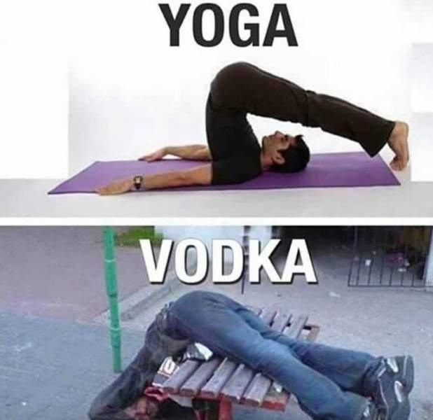 meme comparing what you look like while doing yoga VS when drunk