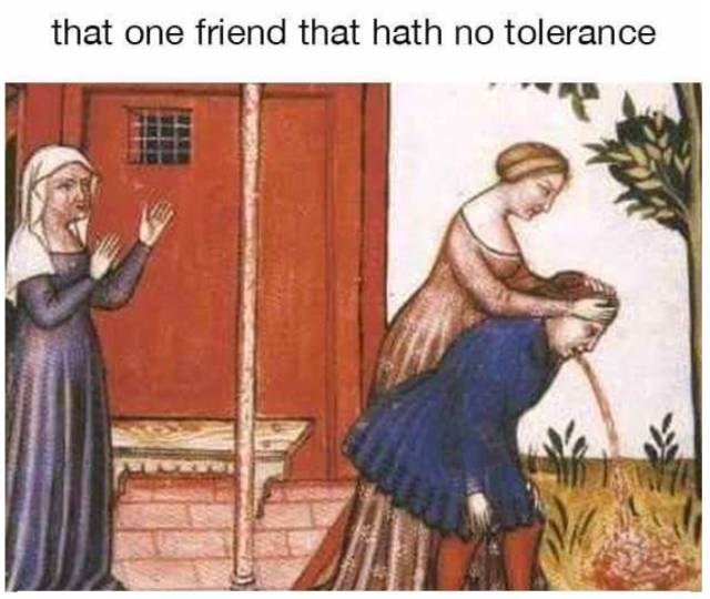meme about a friend that drinks past their limit with medieval painting of person throwing up
