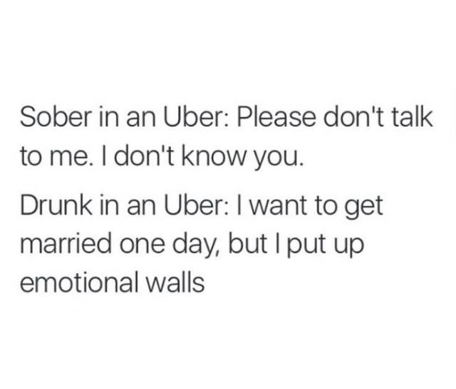 meme about becoming talkative and oversharing when drunk