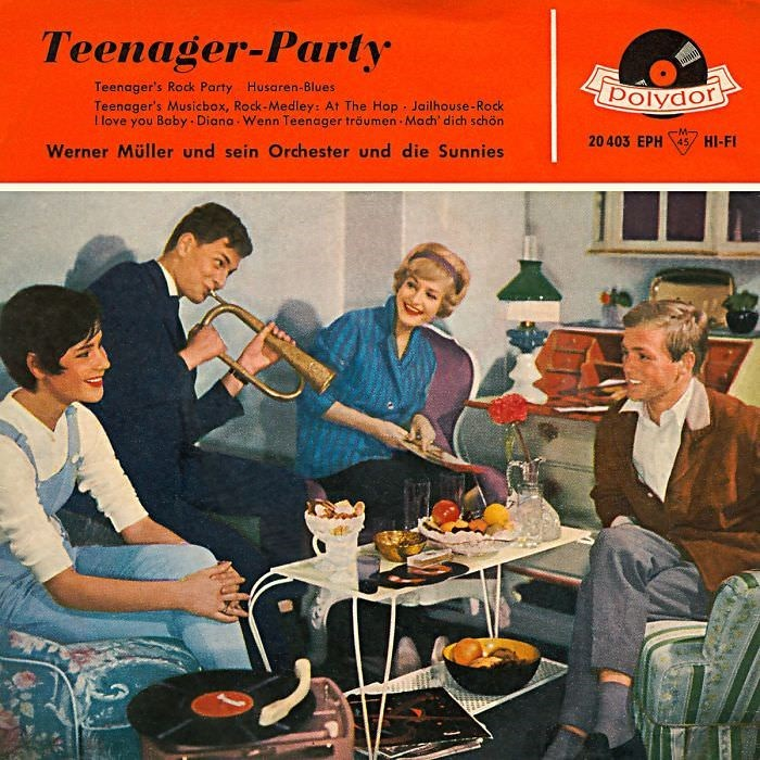 Album cover - Teenager-Party Teenager's Rock Party Husaren-Blues Teenager's Musicbox, Rock-Medley: At The Hop Jailhouse-Rock Llove you Baby Diana Wenn Teenager tröumen Mach dich schön or 20 403 EPH 45 HI-FI Werner Müller und sein Orchester und die Sunnies