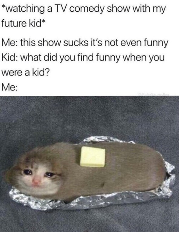 """Pic of a kitten wrapped in foil looking like a baked potato under the caption, """"*Watching a TV comedy show with my future kid* Me: This show sucks it's not even funny; Kid: What did you find funny when you were a kid?"""""""