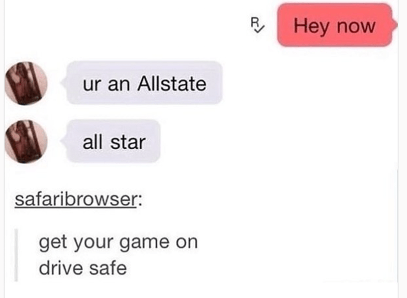 Text - RHey now ur an Allstate all star safaribrowser: get your game on drive safe
