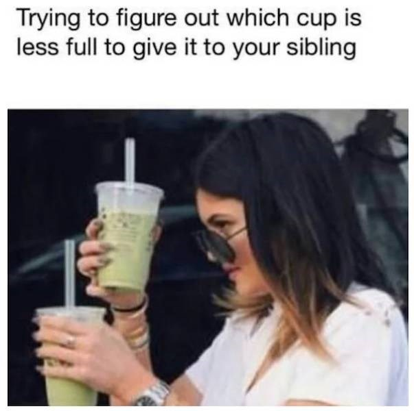 meme - Product - Trying to figure out which cup is less full to give it to your sibling