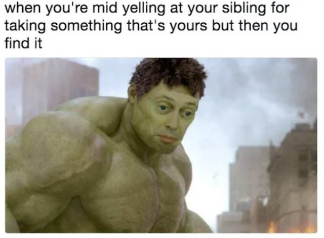 meme - Text - when you're mid yelling at your sibling for taking something that's yours but then you find it