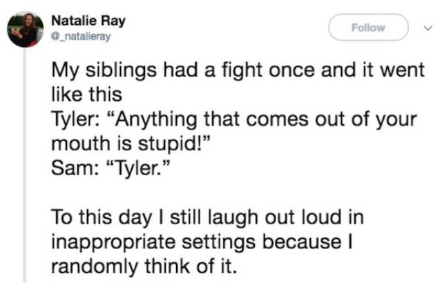 """meme - Text - Natalie Ray natalieray Follow My siblings had a fight once and it went like this Tyler: """"Anything that comes out of your mouth is stupid!"""" Sam: """"Tyler."""" To this day I still laugh out loud in inappropriate settings because I randomly think of it"""