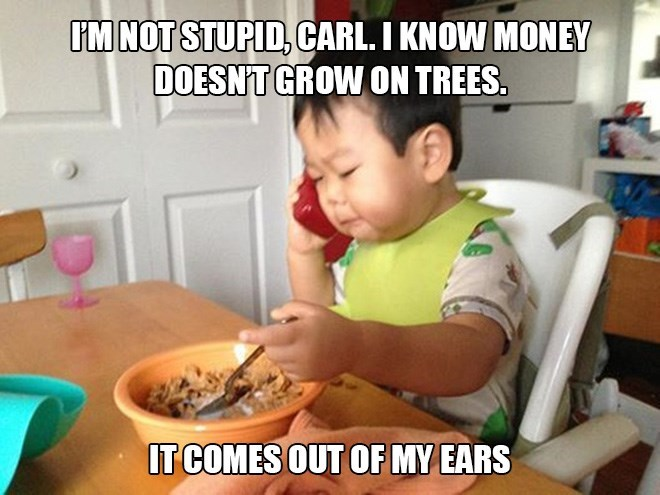 Meal - IMNOT STUPID, CARL. I KNOW MONEY DOESN'T GROW ON TREES. IT COMES OUT OF MY EARS